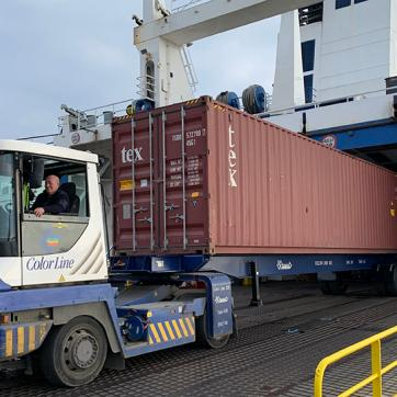 Container driven on board